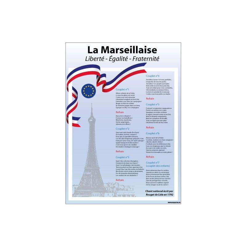 AFFICHAGE LA MARSEILLAISE LOI BLANQUER ECOLE COLLEGE LYCEE (DEV0013)