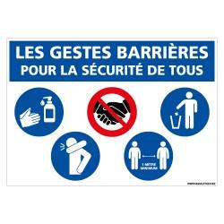 PANNEAU SPECIAL COVID-19 - LES GESTES BARRIERES POUR LA SECURITE DE TOUS PENDANT LA PERIODE DU CORONAVIRUS (E0707)