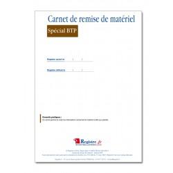 CARNET DE REMISE DE MATERIEL SPECIAL BTP (M005)