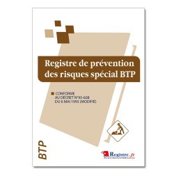REGISTRE DE PREVENTION DES RISQUES SPECIAL BTP (M006)