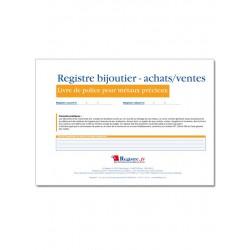 REGISTRE BIJOUTIER ACHATS/VENTES - LIVRE DE POLICE POUR METAUX PRECIEUX (M025)