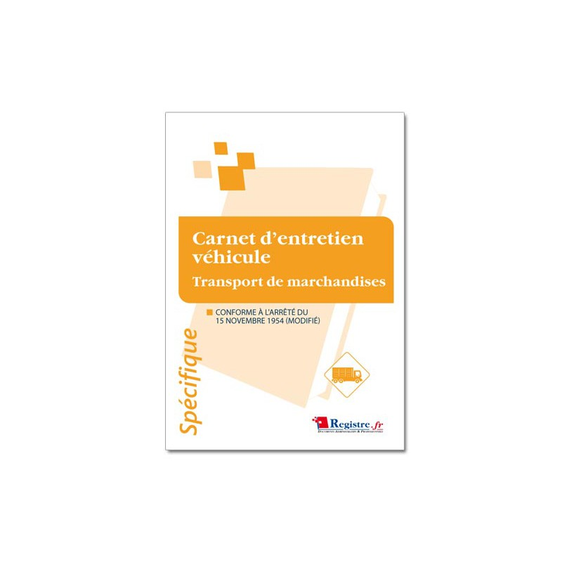 CARNET D'ENTRETIEN VEHICULE TRANSPORT DE MARCHANDISES (M033)