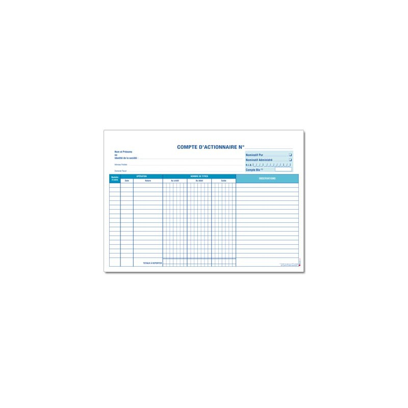 FICHES DE COMPTES D'ACTIONNAIRES (M072)