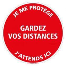 SIGNALISATION DE MARQUAGE AU SOL ADHESIF SPECIAL CORONAVIRUS - GARDEZ VOS DISTANCES DE SECURITE (O0034)