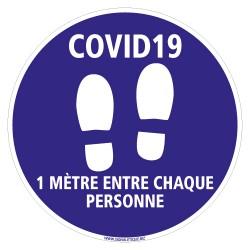 SIGNALISATION DE SOL ADHESIF SPECIAL COVID-19 - 1M ENTRE CHAQUE PERSONNE - DISTANCES DE SECURITE CORONAVIRUS (O0045)