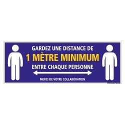 SIGNALISATION SOL ADHESIVE SPECIAL CORONAVIRUS - GARDEZ UNE DISTANCE DE 1M MINIMUM ENTRE CHAQUE PERSONNE (O0049)