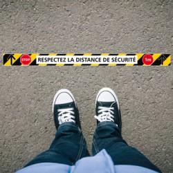 SIGNALISATION DE MARQUAGE AU SOL ADHESIVES AVEC COLLE FORTE SPECIAL COVID-19 - LOT DE 6 BANDES RESPECTEZ LES DISTANCES DE SECURI