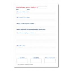 REGISTRE SPECIAL DU CHSCT OBLIGATOIRE : AVIS DES DANGERS GRAVES ET IMMINENTS (P007)