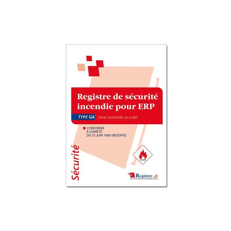 REGISTRE DE SECURITE INCENDIE POUR ERP TYPE GA (P053)
