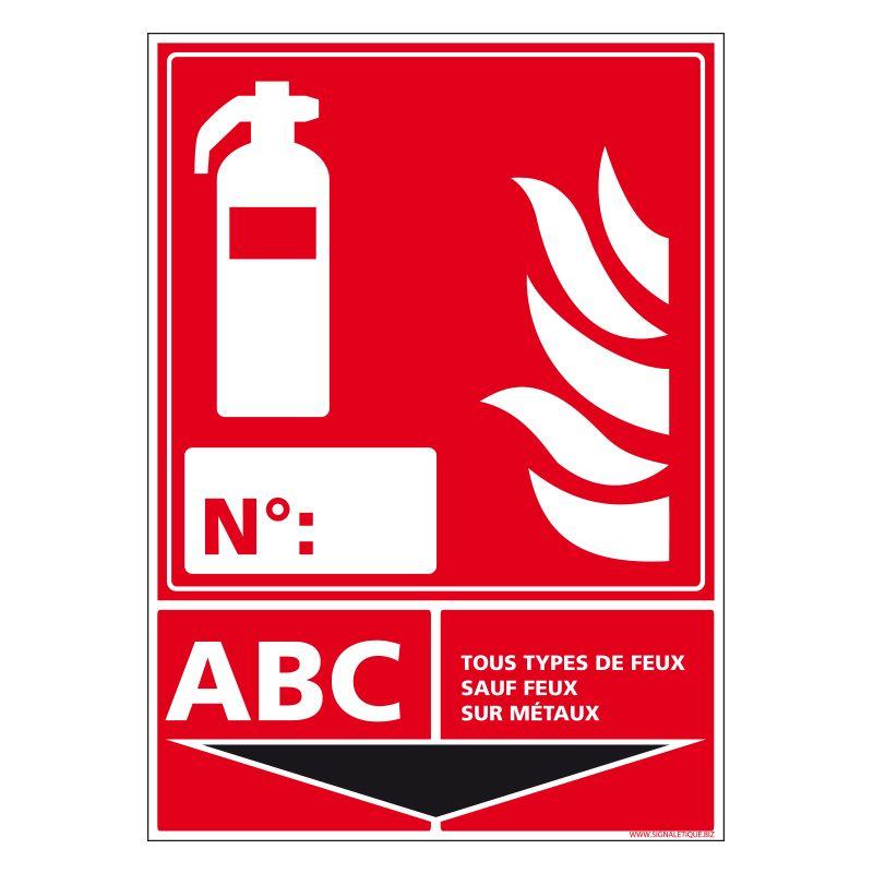 Signalisation d'incendie - Extincteur incendie classe ABC