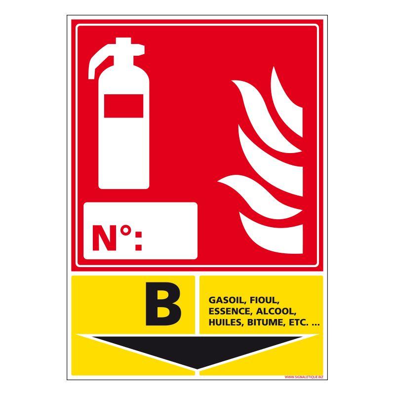 Signalisation d'incendie - Extincteur incendie classe B