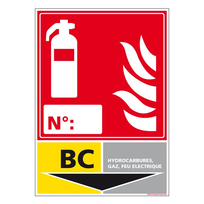 Signalisation d'incendie - Extincteur incendie classe BC
