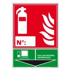 Signalisation d'incendie - Extincteur incendie classe Informatique