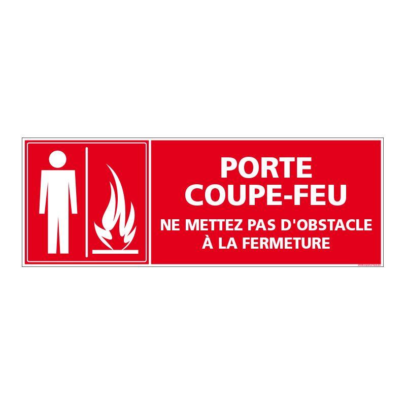 Signalisation d'incendie - Porte coupe feu - Ne mettez pas d'obstacle à la fermeture