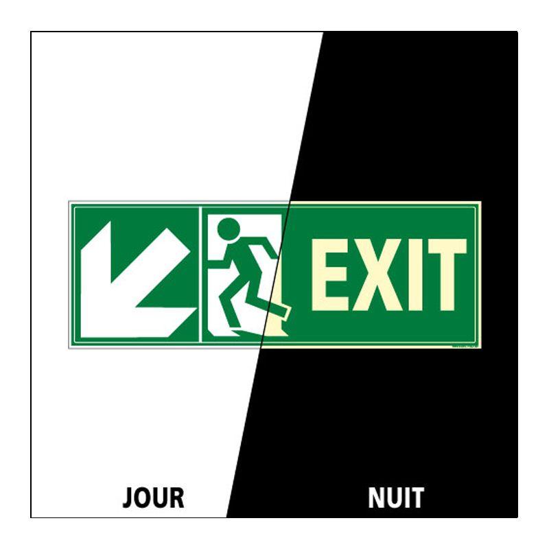 Signalisation de secours - Sortie vers le bas à gauche photoluminescent