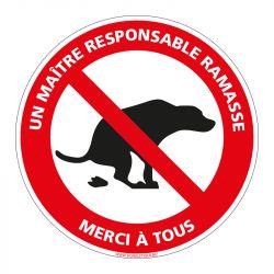 Signalisation d'interdiction - Déjections canines interdites - Un maître responsable ramasse