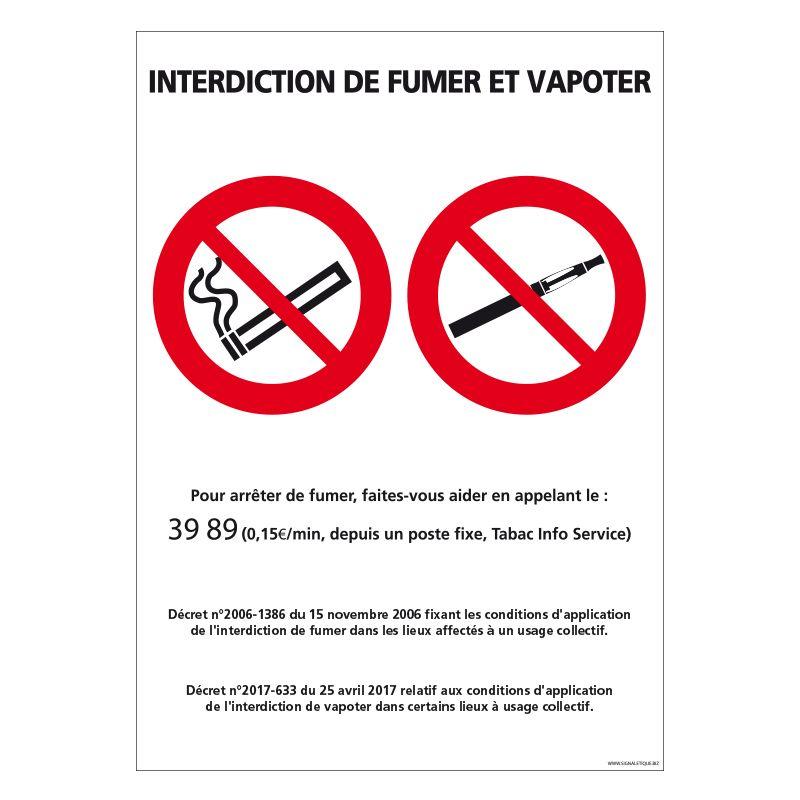 Signalisation d'interdiction - Interdit de fumer et/ou de vapoter