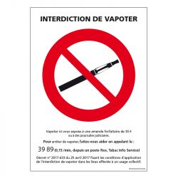 Signalisation d'interdiction - Interdit de vapoter