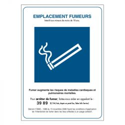 Signalisation d'interdiction - Emplacement fumeur