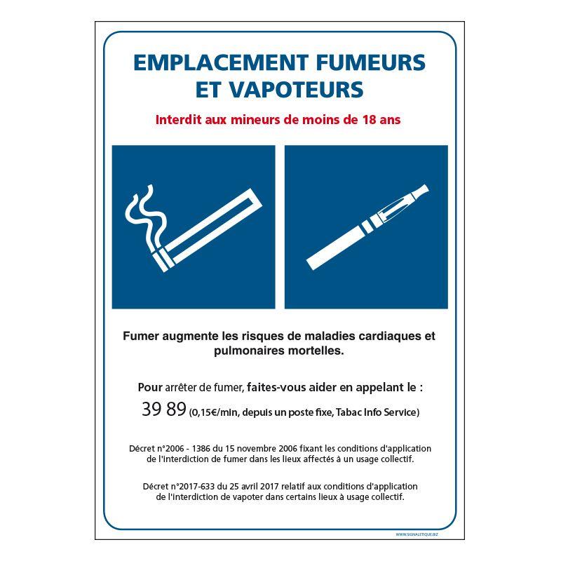 Signalisation d'interdiction - Emplacement fumeur et vapoteur