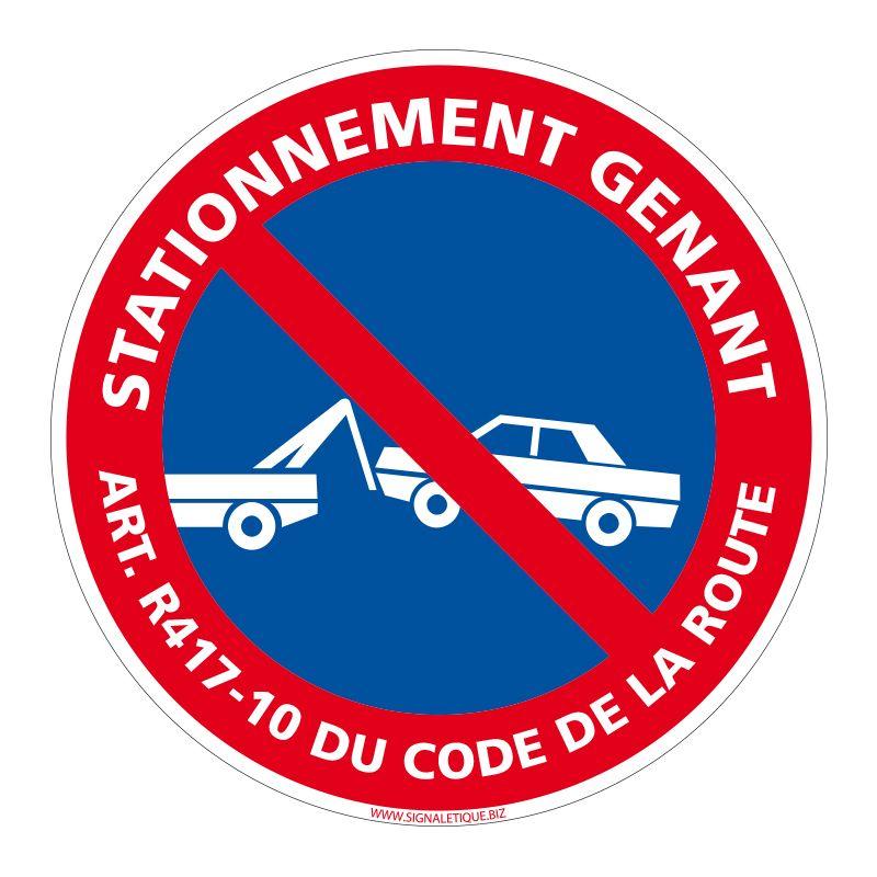 Signalisation de parking / stationnement - Stationnement gênant Art. R417-10 du Code de la route