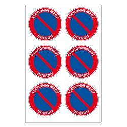 Signalisation de parking / stationnement - Planche de 6 adhésifs indestructibles stationnement interdit