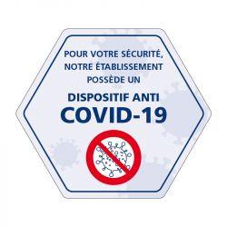 Signalisation spécial COVID-19 - Adhésif informatif - Dispositif anti covid installé dans cet établissement