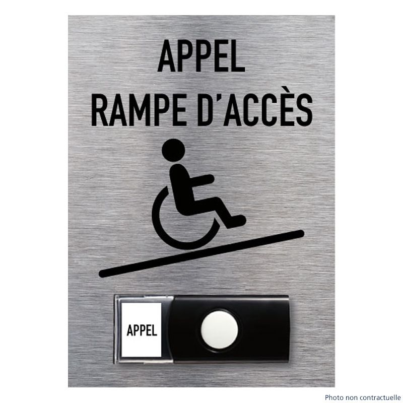 Signalisation accueil du public - Panneau d'appel rampe d'accès handicapés avec sa sonnette intégrée