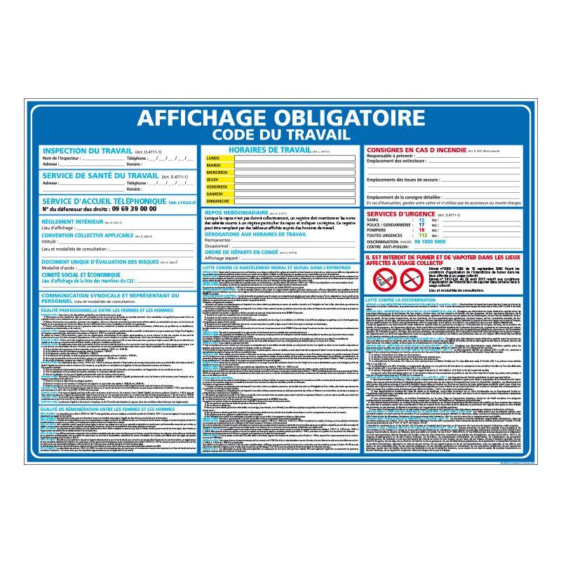 Signalisation affichage obligatoire en entreprise - Affichage obligatoire du code du travail