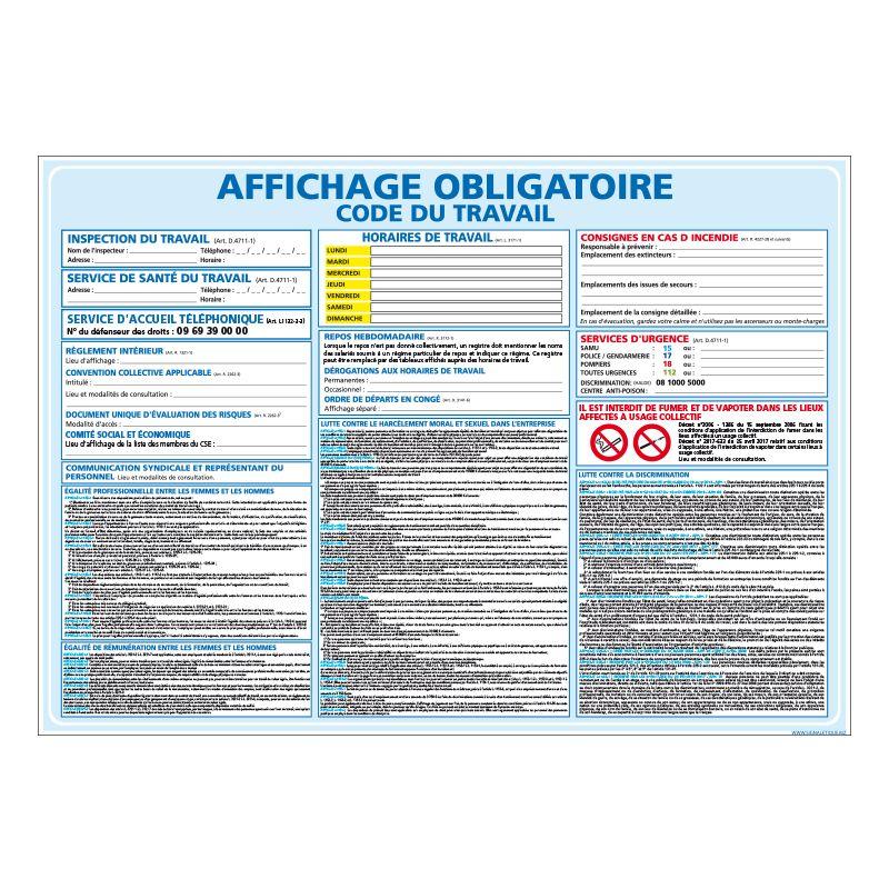 Signalisation affichage obligatoire en entreprise - Affichage obligatoire du code du travail - Normes 2020