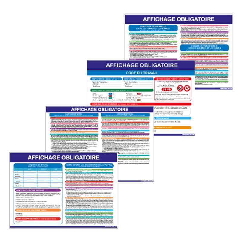 Signalisation affichage obligatoire en entreprise - Affichage obligatoire du code du travail - Lot de 4 visuels