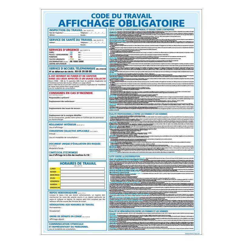 Signalisation affichage obligatoire en entreprise - Code du travail - Normes 2020