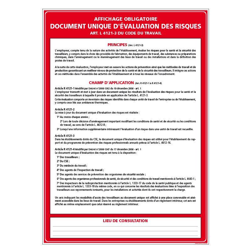 Signalisation affichage obligatoire en entreprise - Document unique d'évaluation des risques