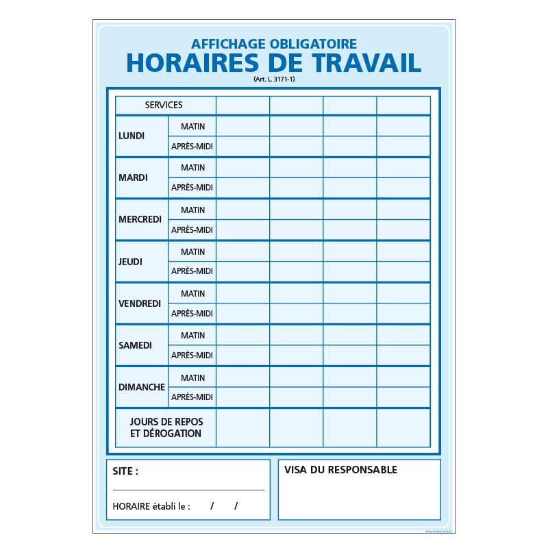 Signalisation affichage obligatoire en entreprise - Affichage horaire de travail