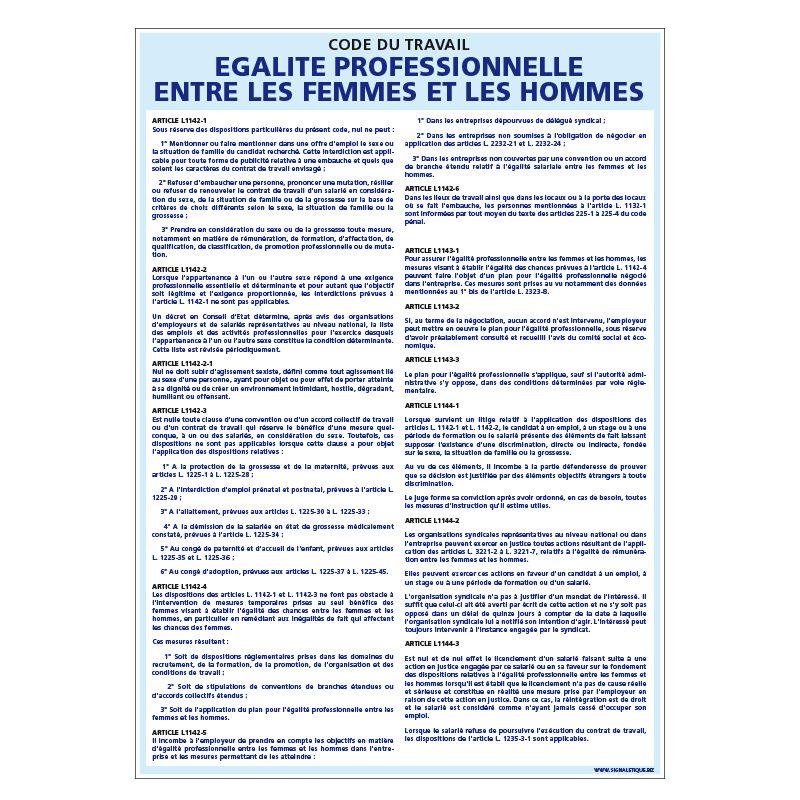 Signalisation affichage obligatoire en entreprise - Affichage égalité professionnelle entre les femmes et les hommes