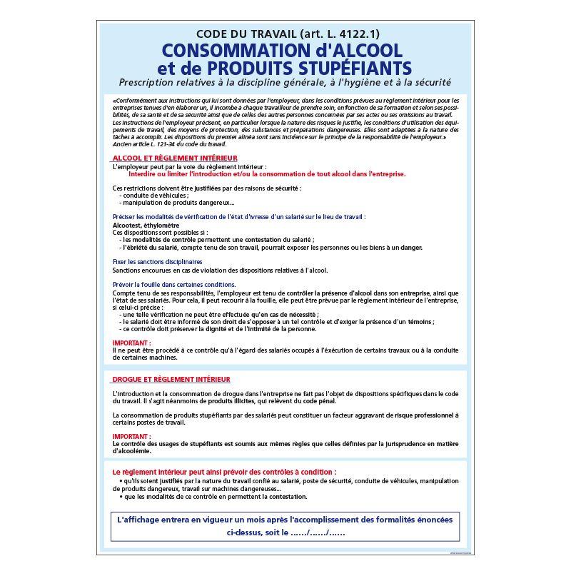 Signalisation affichage obligatoire en entreprise - Affichage sur les consommations d'alcool et de stupéfiants