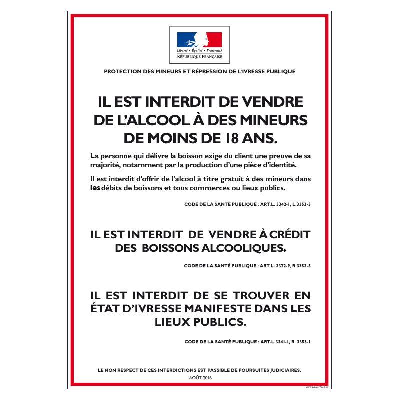 Signalisation hôtel restaurant camping - Vente d'alcool interdit aux mineurs (Pour débit de boissons à emporter)