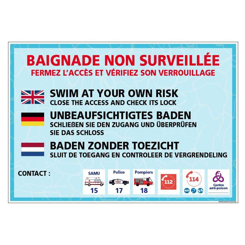 Signalisation hôtel restaurant camping - Baignade non surveillée - Personnalisable (Plusieurs langues)