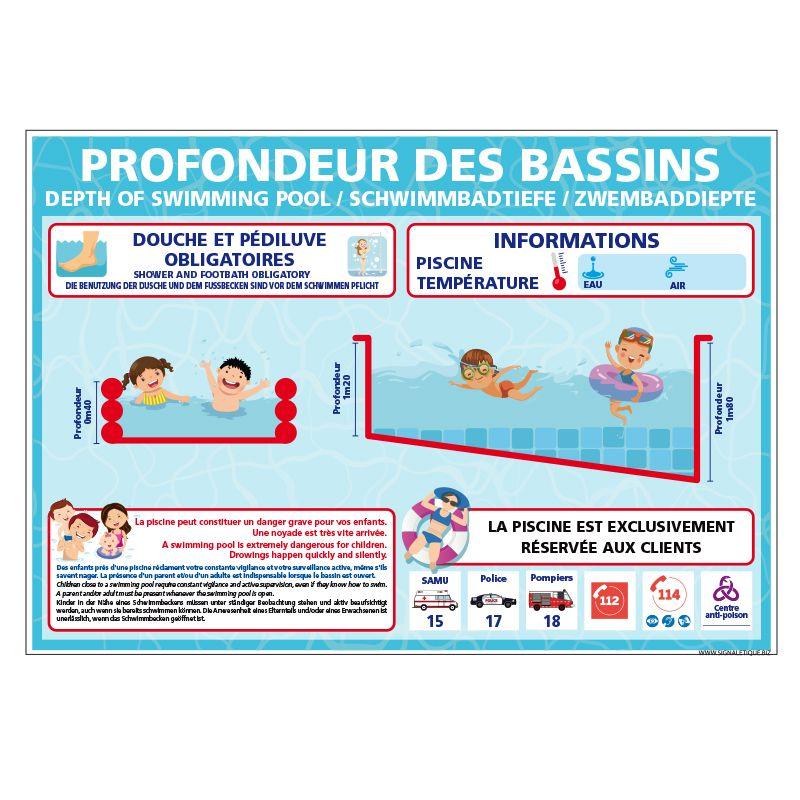 Signalisation hôtel restaurant camping - Profondeur des bassins a personnaliser