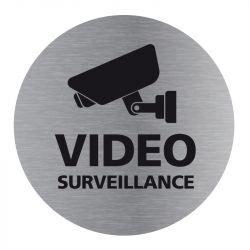 Signalisation plaque de porte aluminium brossé - Plate-up vidéo surveillance