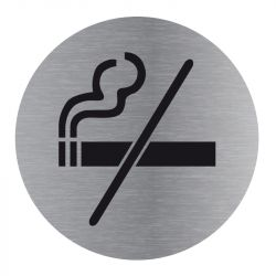 Signalisation plaque de porte aluminium brossé - Plate-up interdiction de fumer