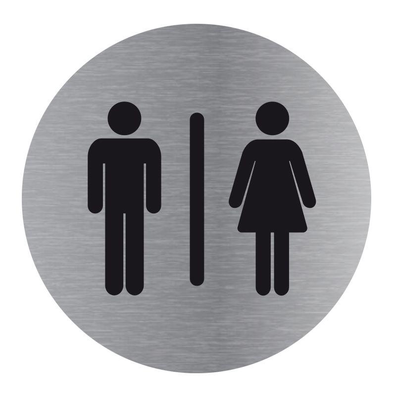 Signalisation plaque de porte aluminium brossé - Plate-up toilette homme / femme