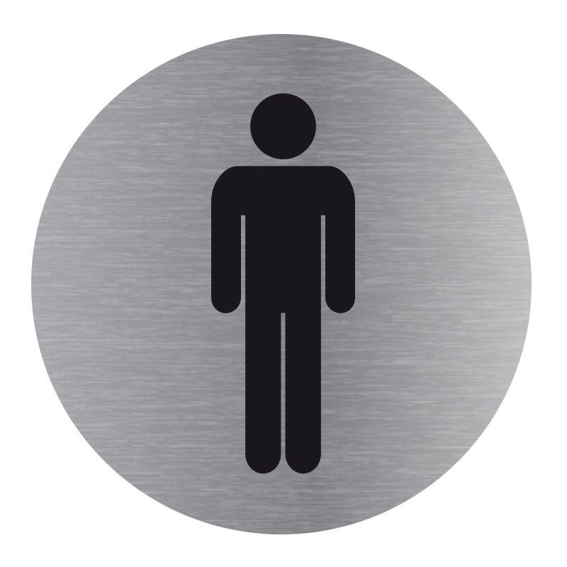 Signalisation plaque de porte aluminium brossé - Plate-up toilette homme