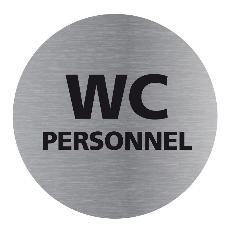 Signalisation plaque de porte aluminium brossé - Plate-up WC personnel