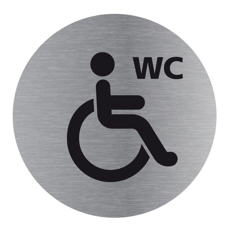 Signalisation plaque de porte aluminium brossé - Plate-up WC handicapé