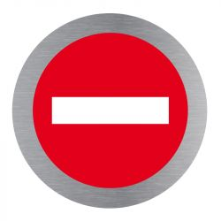 Signalisation plaque de porte aluminium brossé - Plate-up sens interdit
