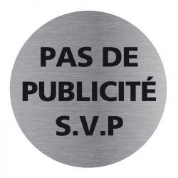 Signalisation plaque de porte aluminium brossé - Plate-up pas de publicité svp