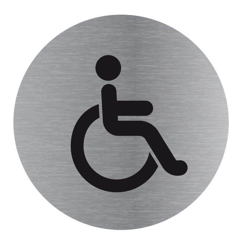 Signalisation plaque de porte aluminium brossé - Plate-up toilette handicapé