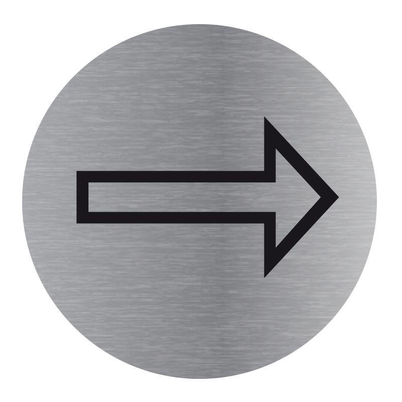 Signalisation plaque de porte aluminium brossé - Plate-up flèche vers la droite