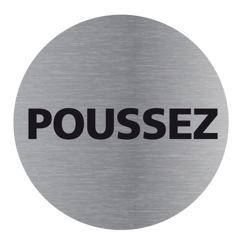 Signalisation plaque de porte aluminium brossé - Plate-up poussez